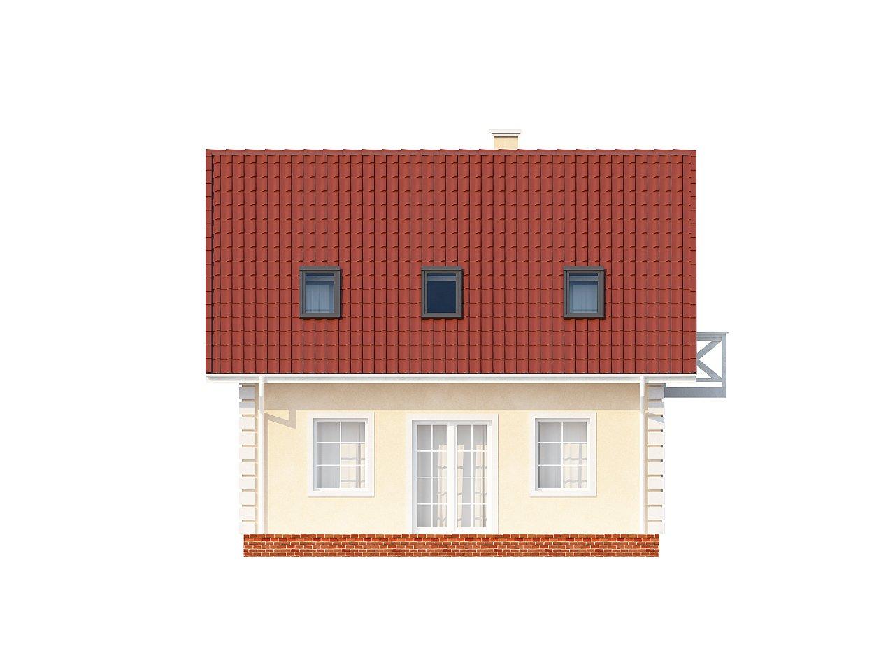 Компактный дом в традиционном стиле с двускатной крышей и красивыми мансардными окнами. - фото 6
