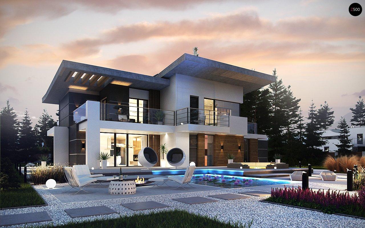 Современный двухэтажный дом с гаражом и террасой, спальней на первом этаже и ванной комнатой 1