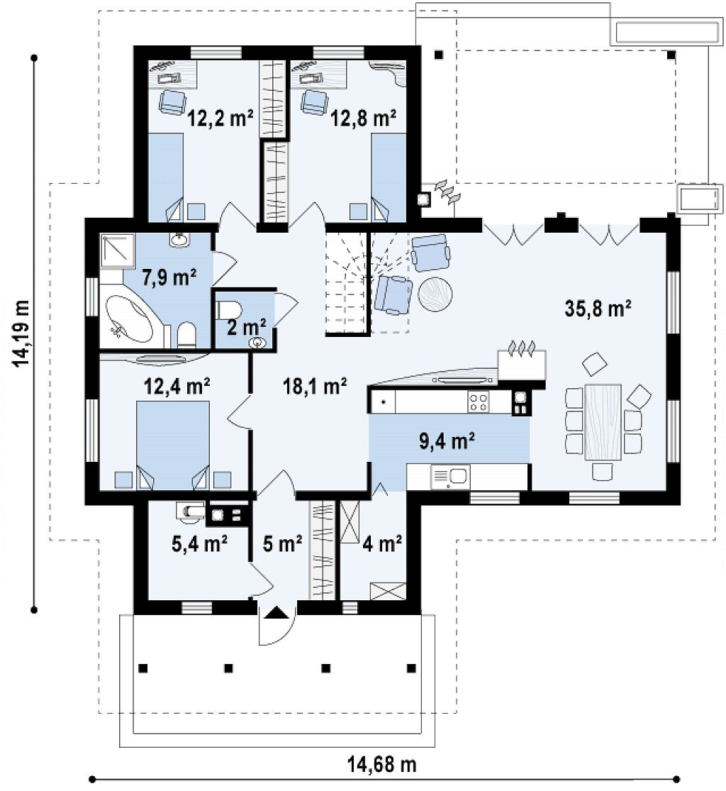 Добротный практичный одноэтажный дом с возможностью обустройства мансарды. план помещений 1