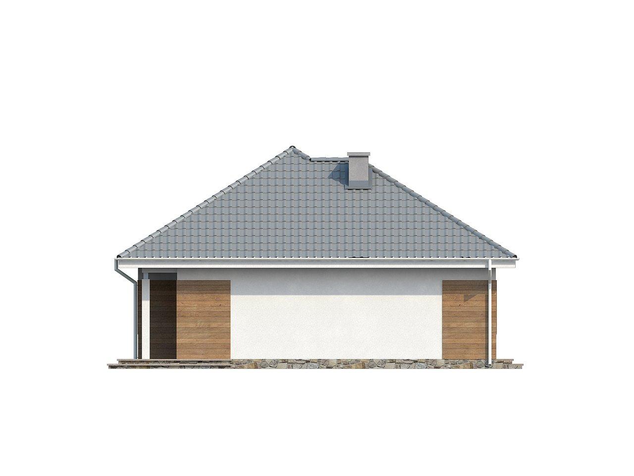 Проект одноэтажного практичного и уютного дома с крытой террасой. 24