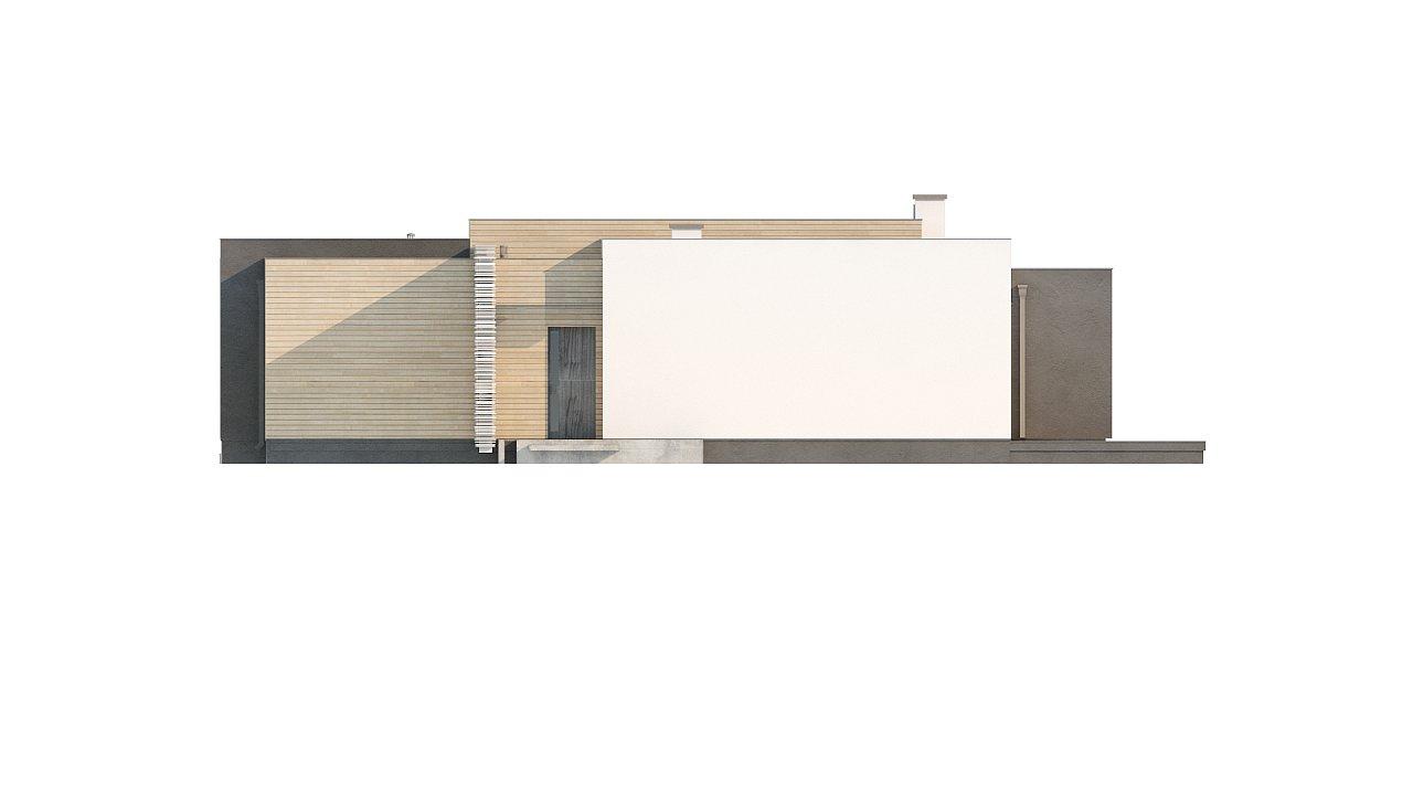 Одноэтажный дом в стиле хай-тек с плоской кровлей и большой площадью остекления. 32