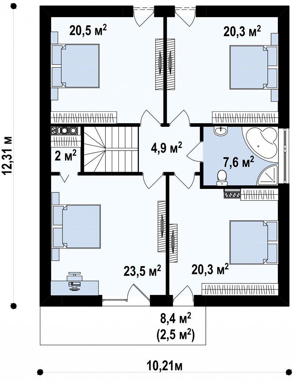 Стильный комфортный дом современного дизайна со встроенным гаражом. план помещений 2