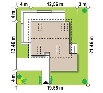 Мансардный дом с гаражом, расположенным с фронтальной стороны фасада план помещений 1