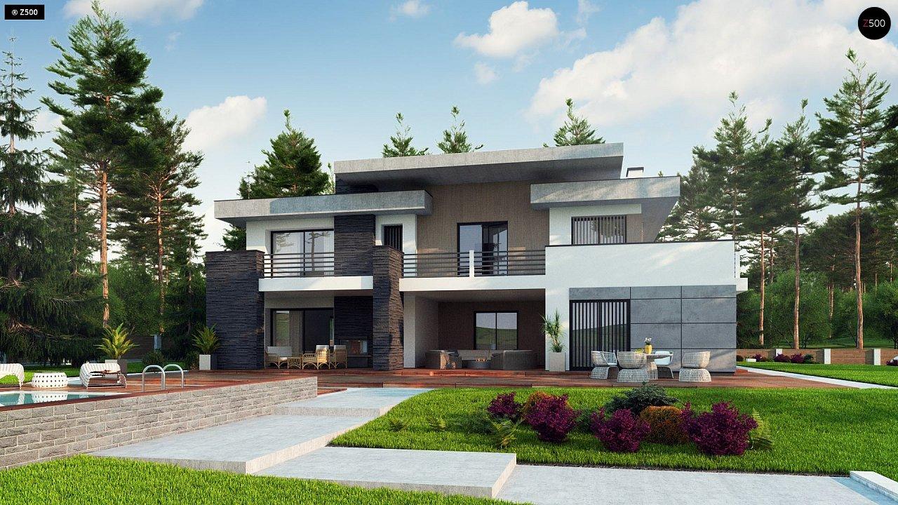 Красивый и комфортный дом с плоской кровлей, гаражом на две машины и просторными террасами. - фото 2