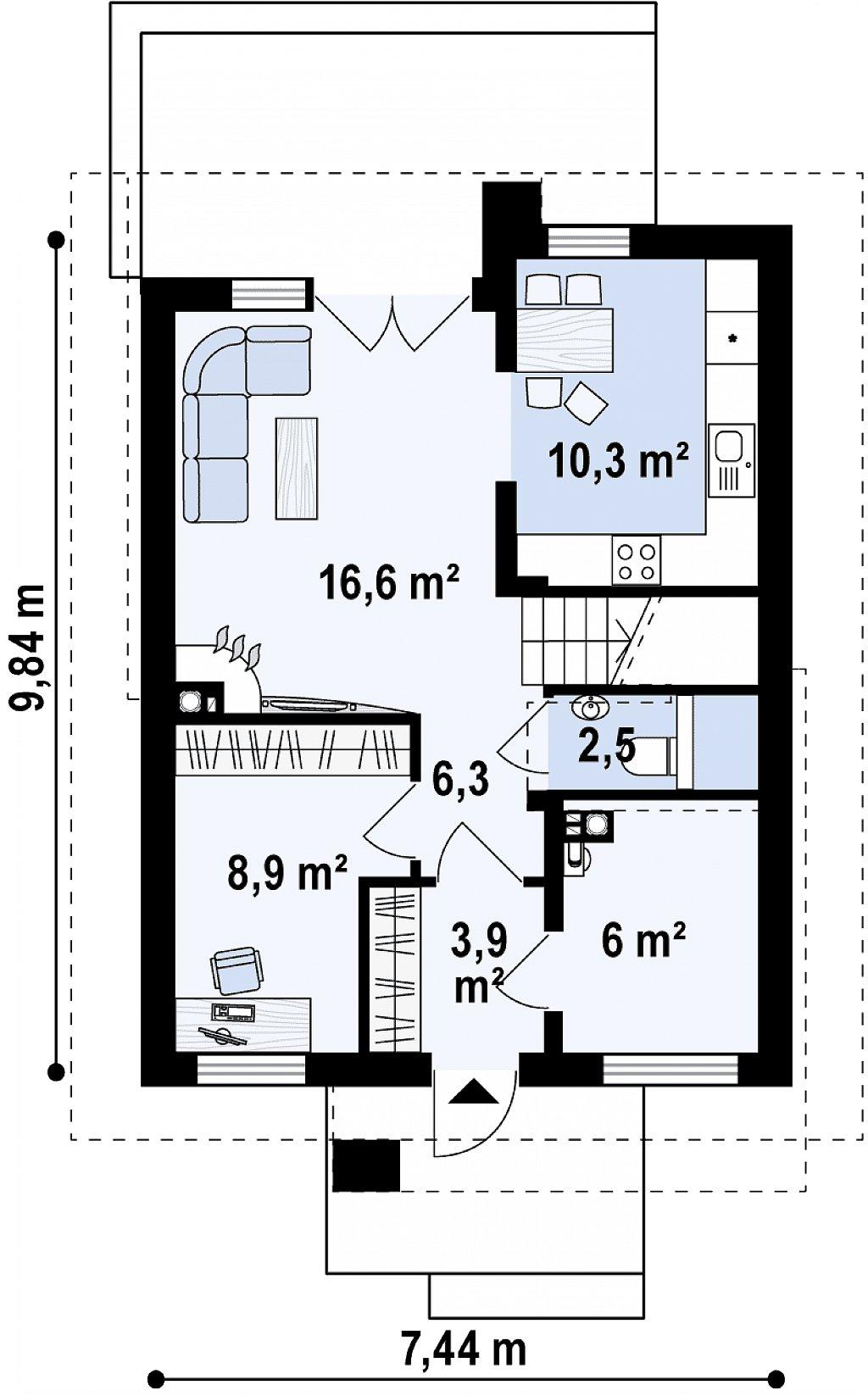 Компактный и удобный дом традиционной формы, подходящий, также, для узкого участка. план помещений 1