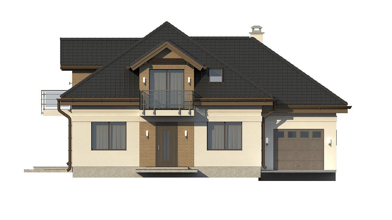 Проект дома с мансардой, с кабинетом на первом этаже и гаражом. 20