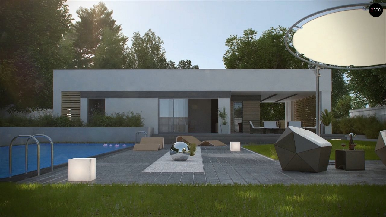 Современный одноэтажный дом хай-тек с навесом для автомобиля 7