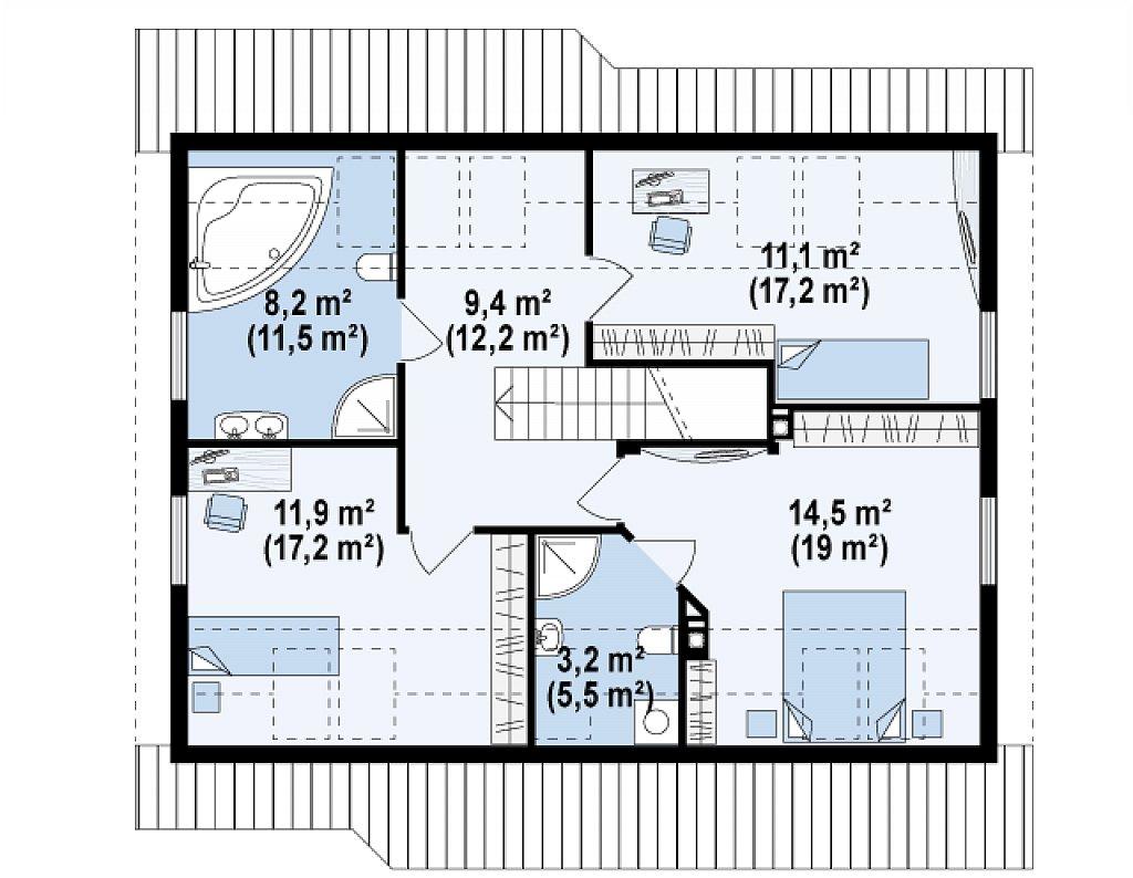 Дом с мансардой с двускатной крышей и комнатой на первом этаже план помещений 2