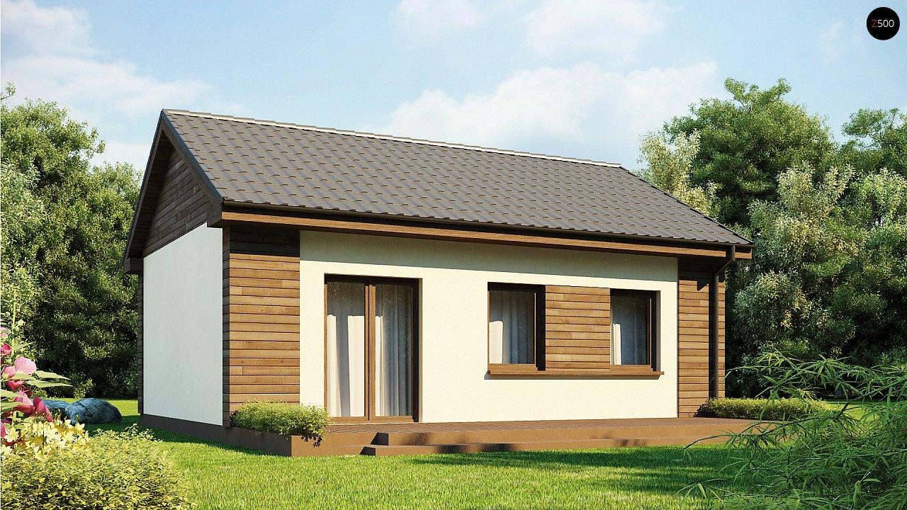 Маленький одноэтажный дом с двускатной кровлей, недорогой в строительстве и эксплуатации. - фото 2