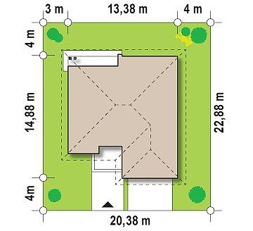 Практичный одноэтажный дом с большим гаражом, просторной гостиной и двумя спальнями. план помещений 1