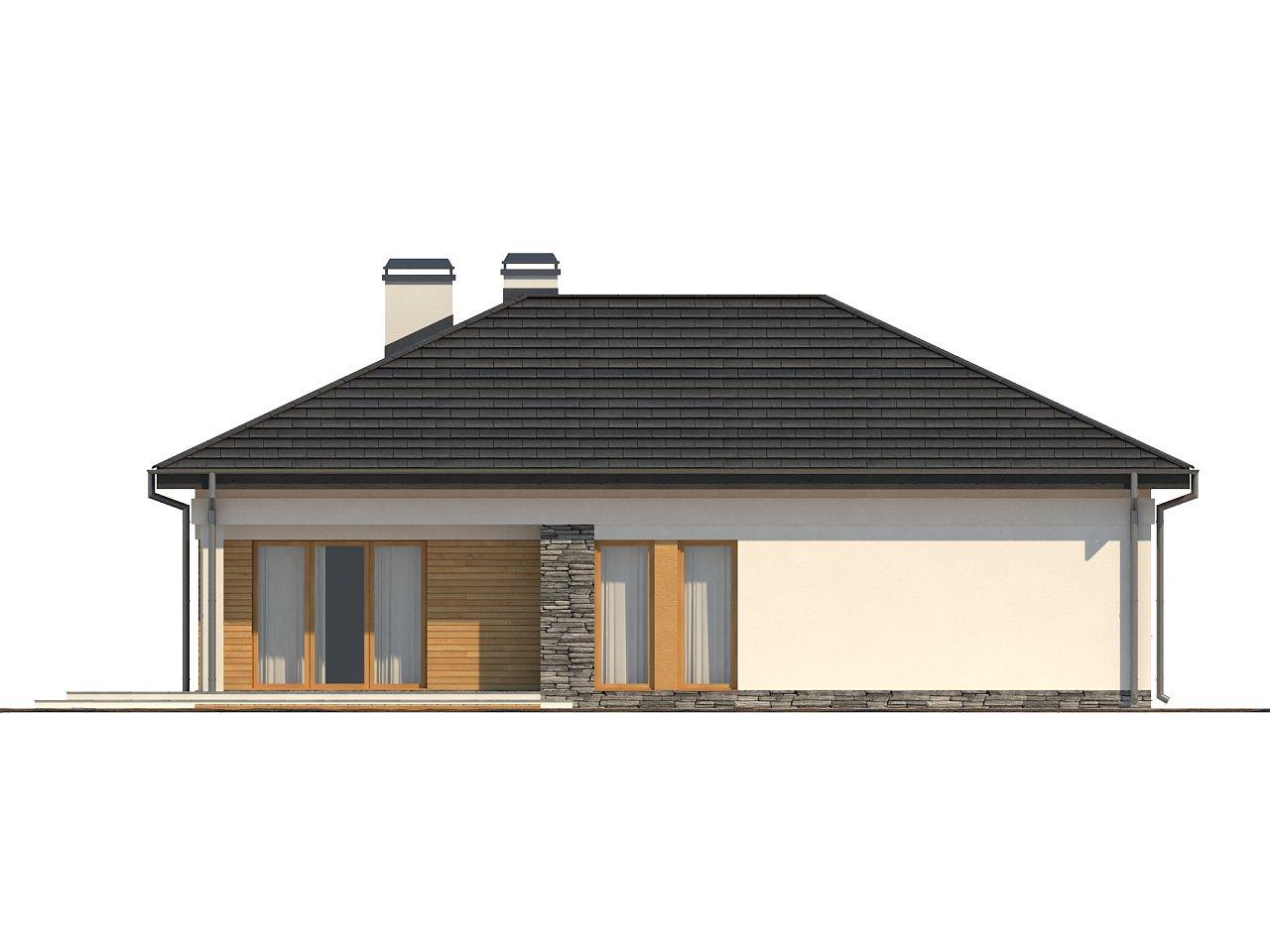 Проект функционального одноэтажного дома. Ночная зона во фронтальной части, кухня со стороны сада. 24