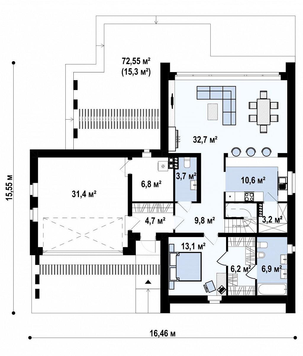 Современный мансардный дом с гаражом на две машины план помещений 1