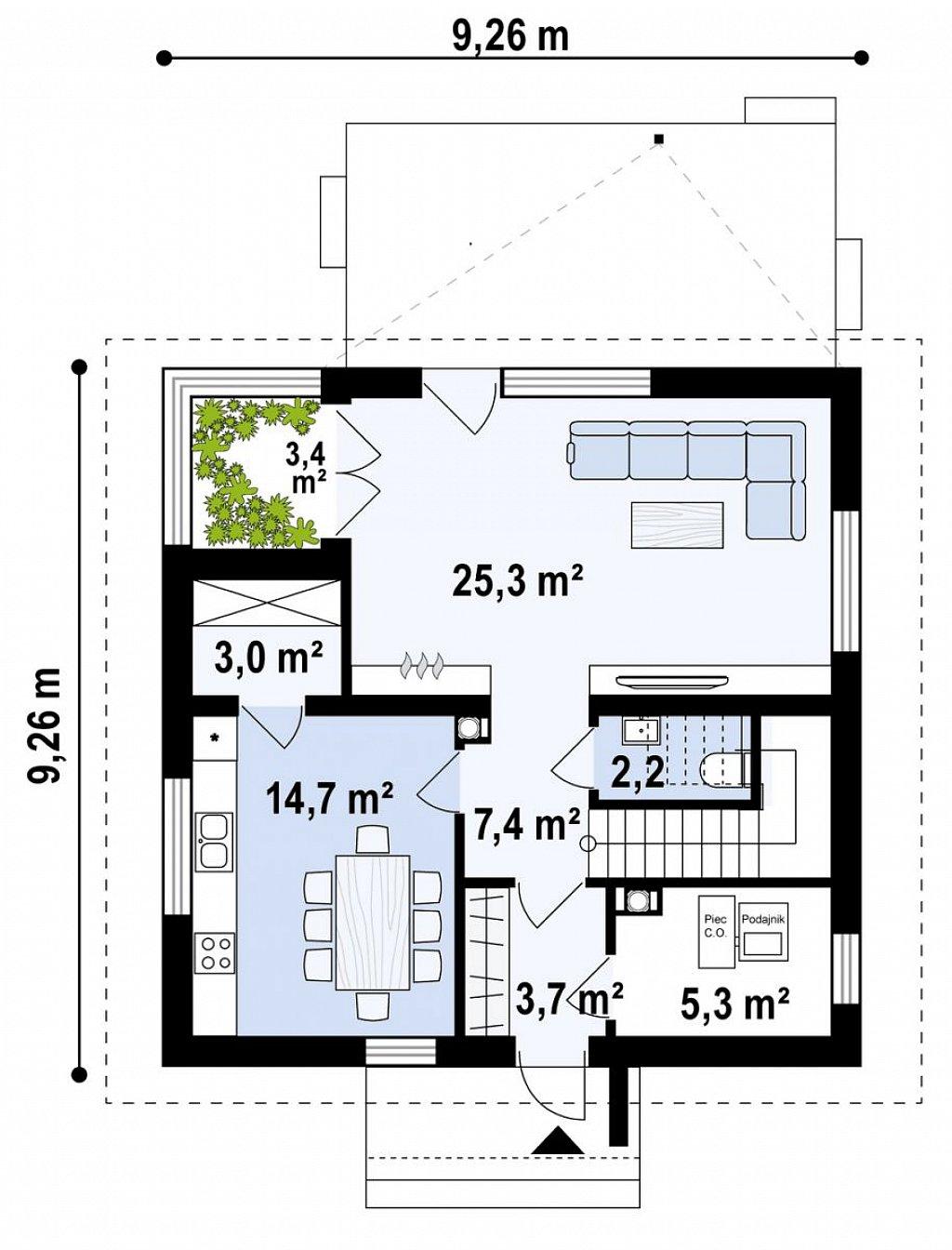 Проект просторного мансардного дома с панорамным остеклением. план помещений 1