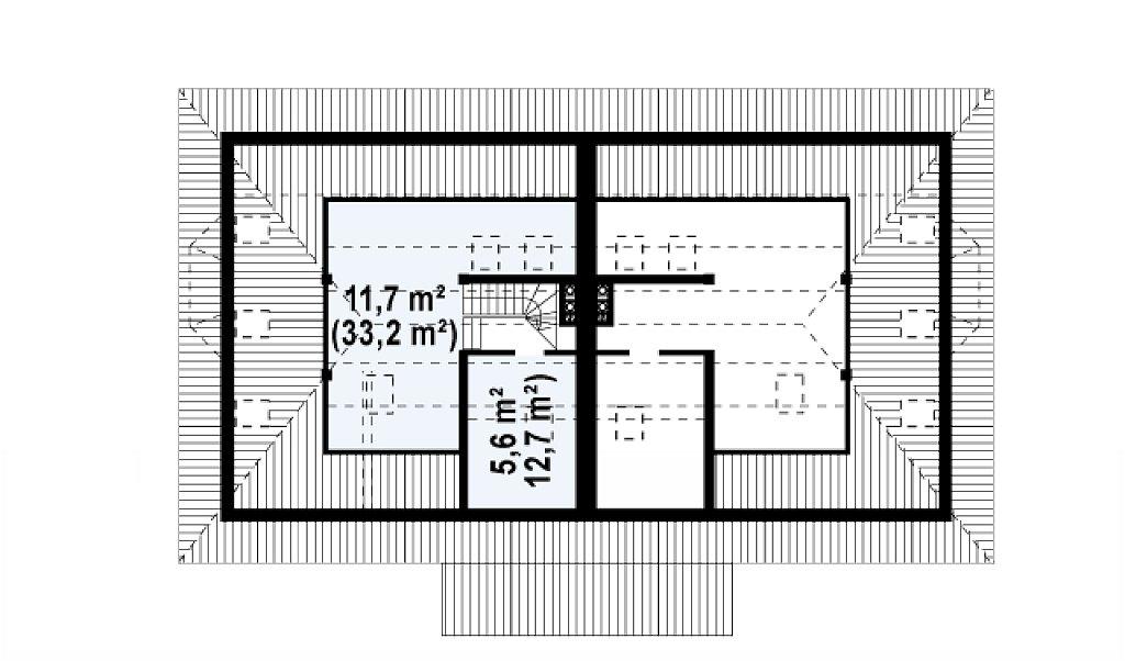 Проект домов близнецов с гаражом и дополнительным помещением на чердаке. план помещений 3
