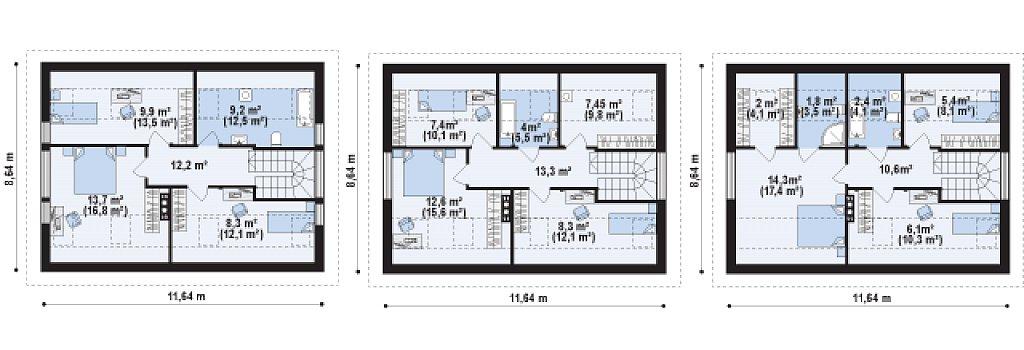 Небольшой одноэтажный дом с оригинальным оформлением террас. план помещений 2