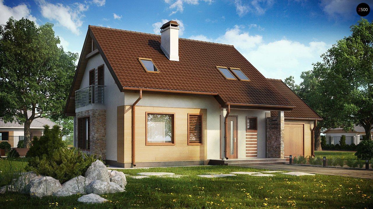 Версия проекта дома Z102 с гаражом, пристроенным справа. 1
