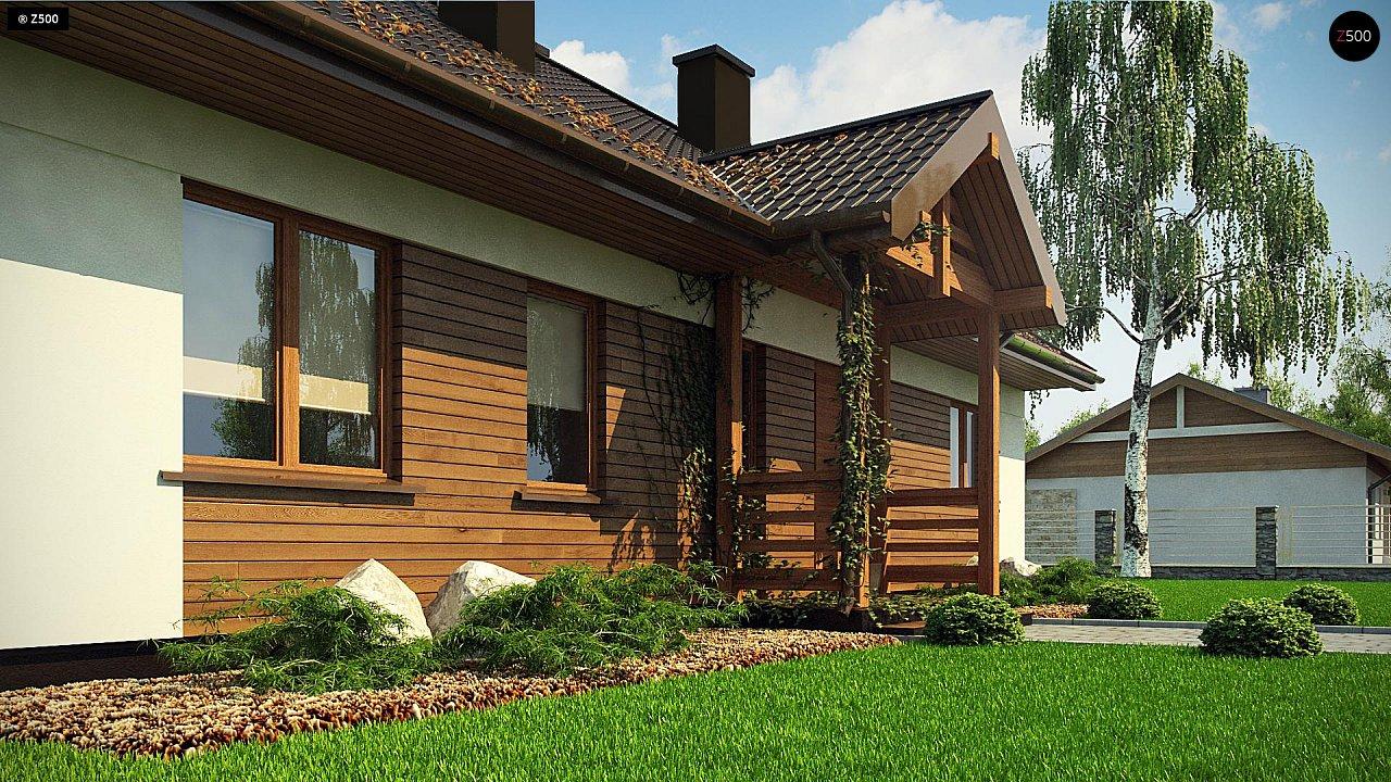 Аккуратный одноэтажный дом с деревянной отделкой на фасадах. 5