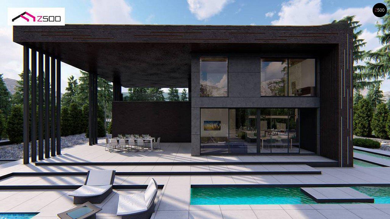 Современный двухэтажный дом с плоской кровлей и навесом для автомобиля - фото 4