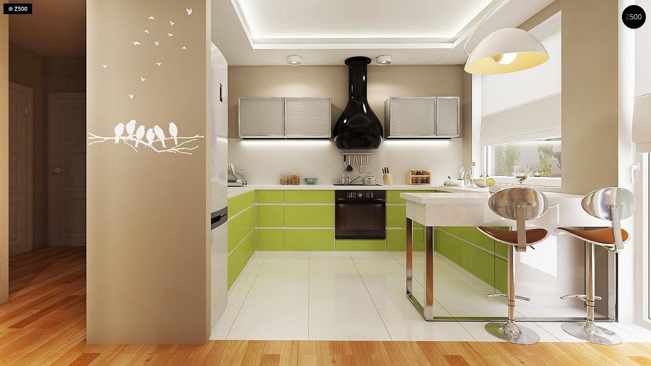 Аккуратный небольшой одноэтажный дом простой конструкции с кухней со стороны сада. 5