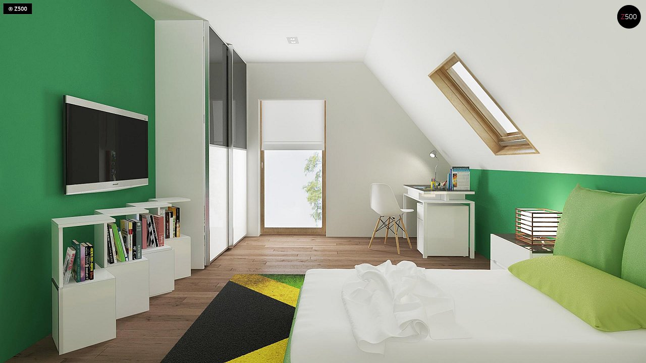 Небольшой стильный и практичный дом с мансардными окнами. - фото 11