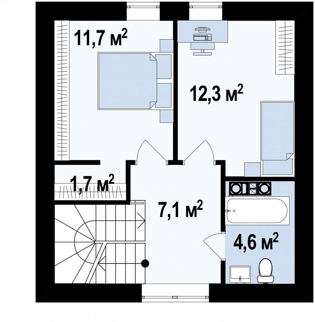 Небольшой мансардный дом с верандой, подойдет для строительства на узком участке. план помещений 2
