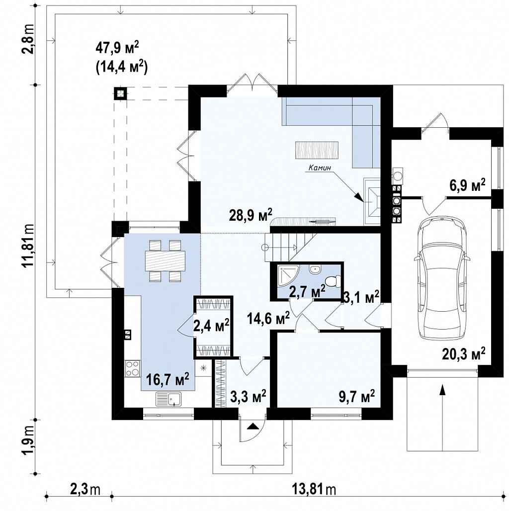 Проект дома с мансардой, с кабинетом на первом этаже и гаражом. план помещений 1