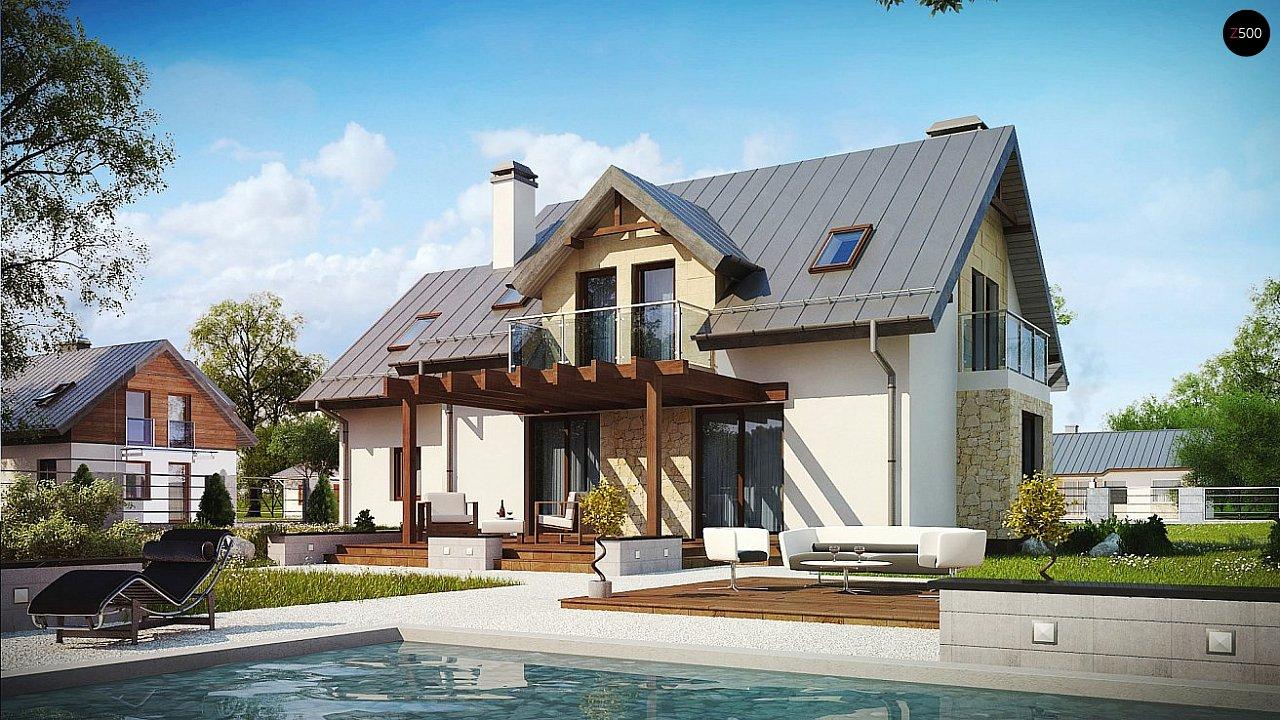 Версия мансардного дома Z263 с увеличением гаража - фото 2