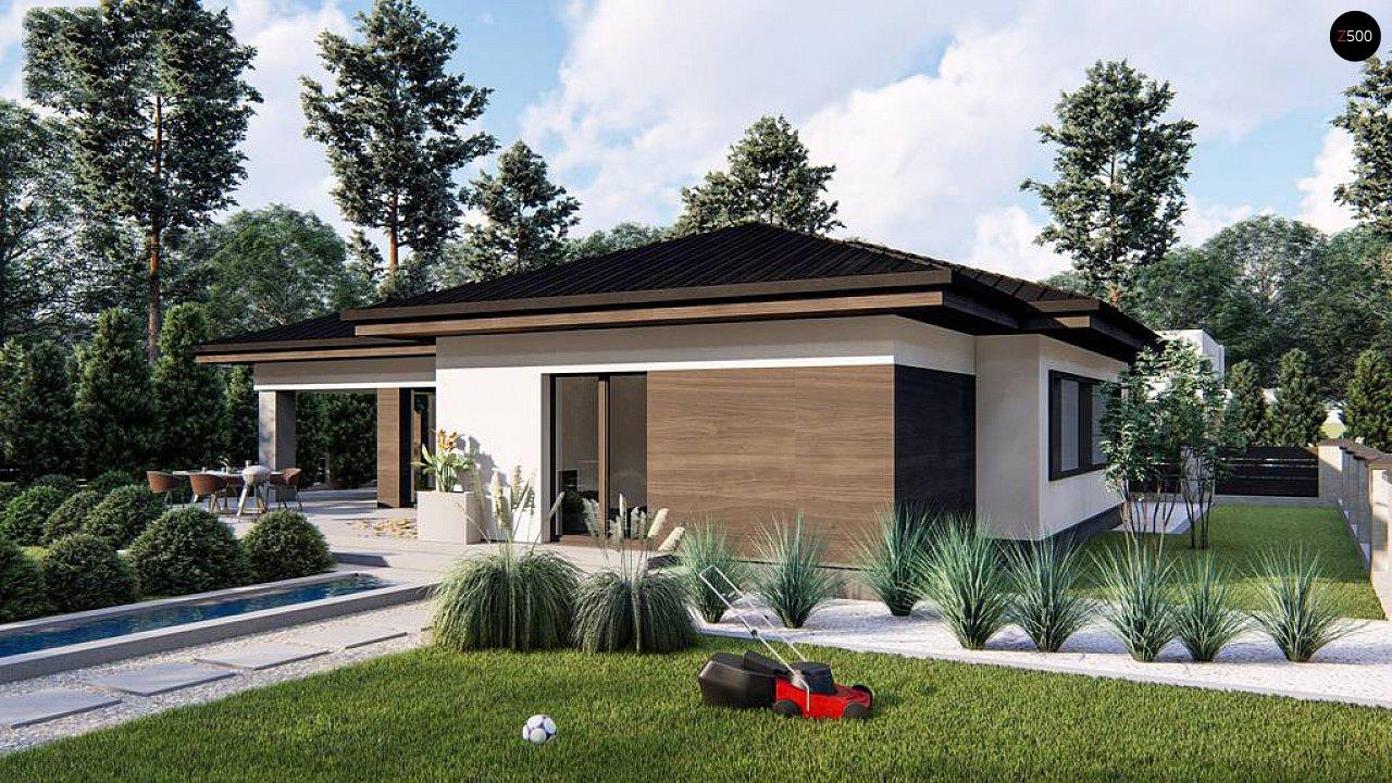 Современный одноэтажный дом с многоскатной крышей и гаражом на две машины. 3