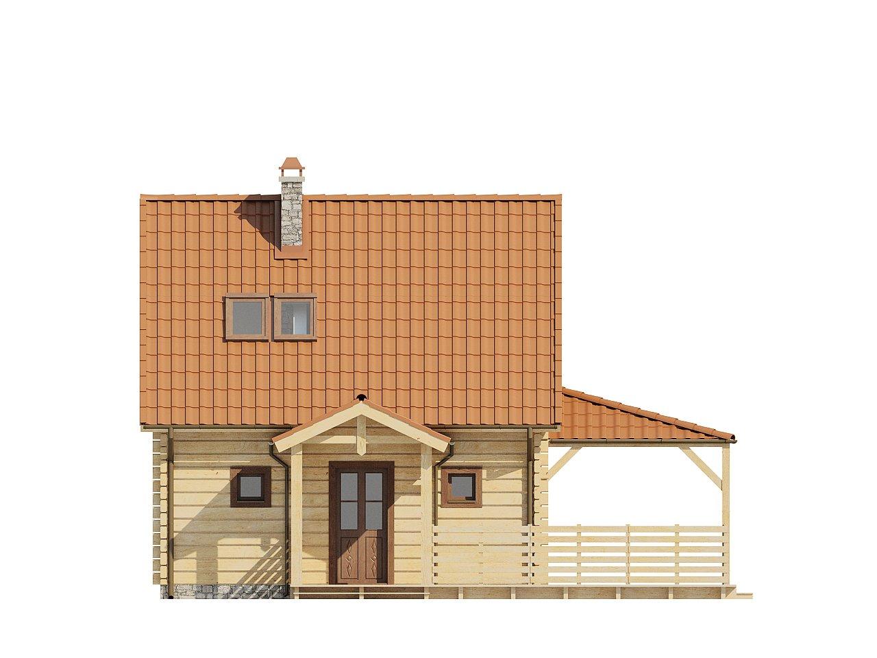 Проект небольшого дома с мансардой, с крытой боковой террасой. - фото 3