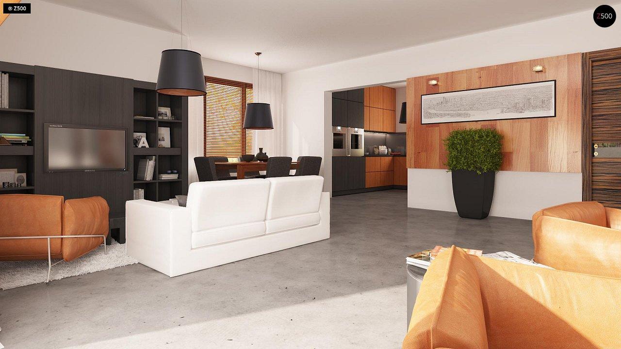 Проект практичного дома с эркером и гаражом на одну машину. 3