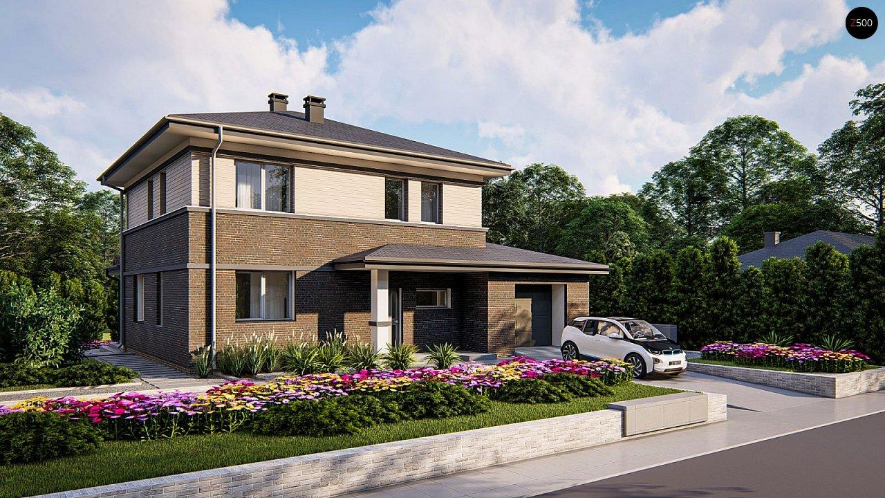 Проект двухэтажного дома на фасаде с клинкерным кирпичом - фото 1