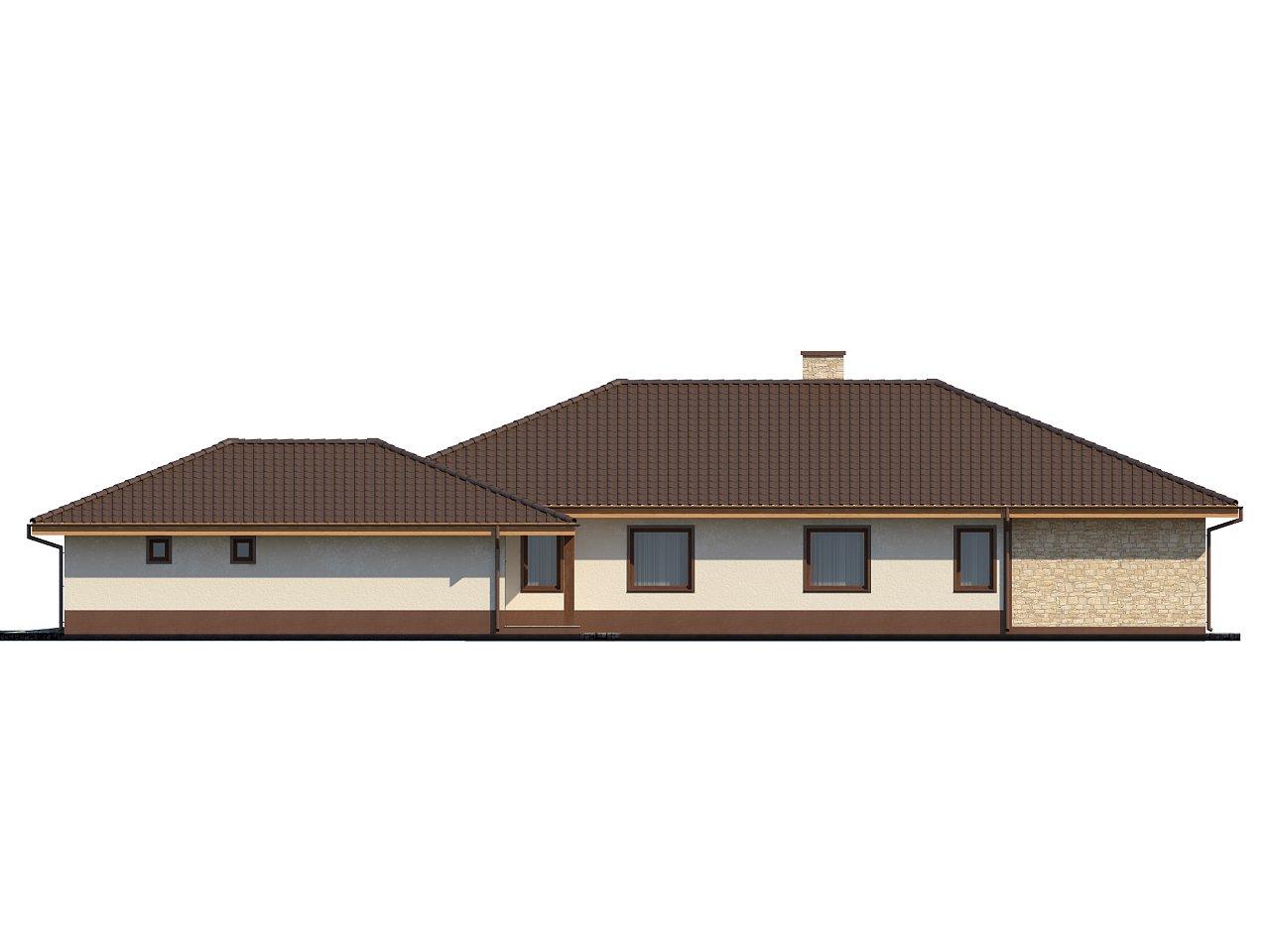 Комфортабельный одноэтажный дом для продольного участка с большим гаражом, с возможностью обустройства мансарды. 5