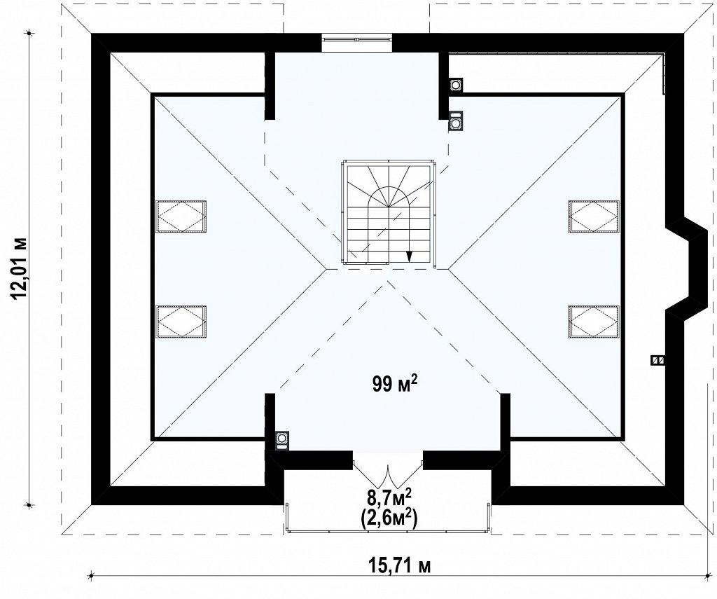 Комфортный проект дома с балконом на мансардном этаже план помещений 2