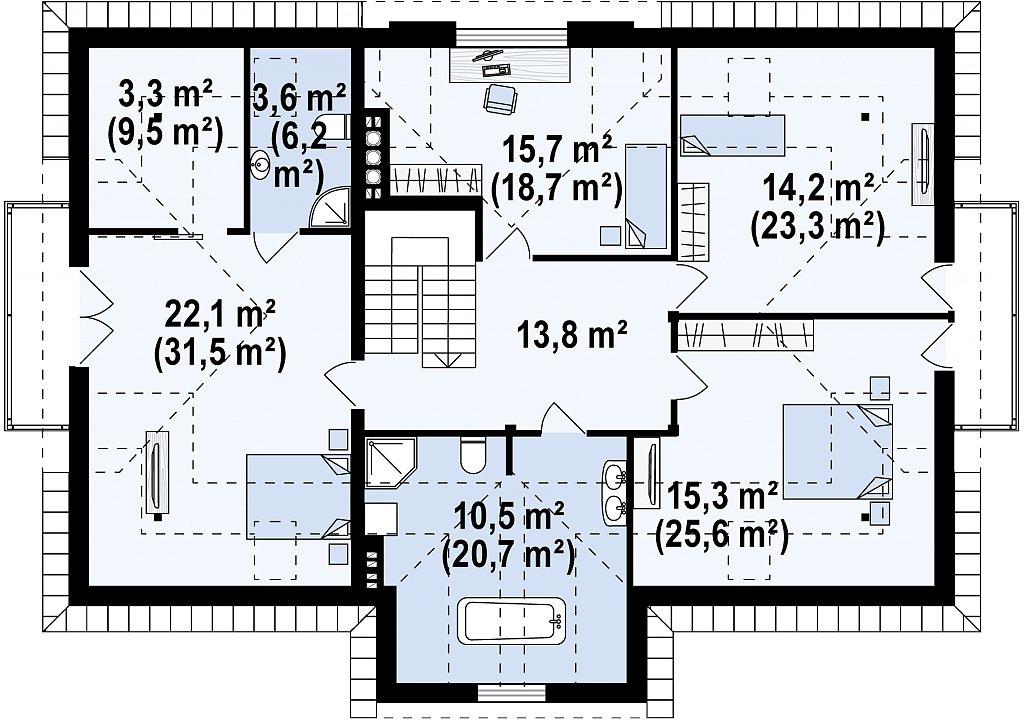 Проект двухсемейного дома в стиле дворянской усадьбы. план помещений 2