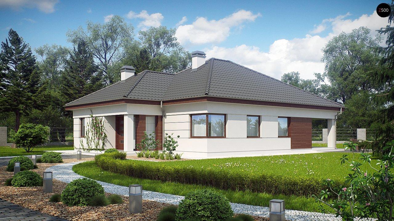 Просторный одноэтажный дом с многоскатной крышей, угловым окном и угловой террасой в дневной зоне. 1