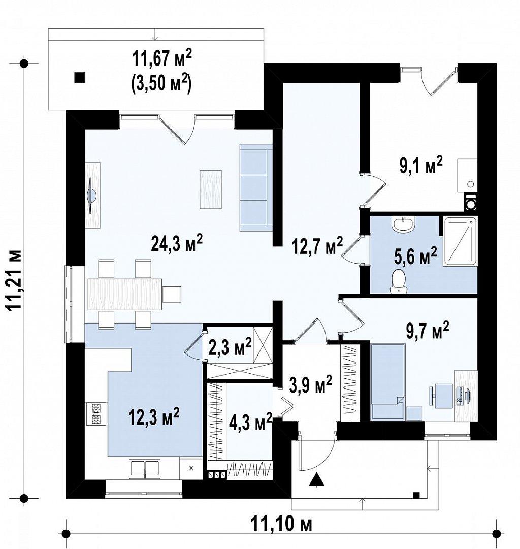 Двухэтажный дом с современным дизайном экстерьера и удобным интерьером план помещений 1