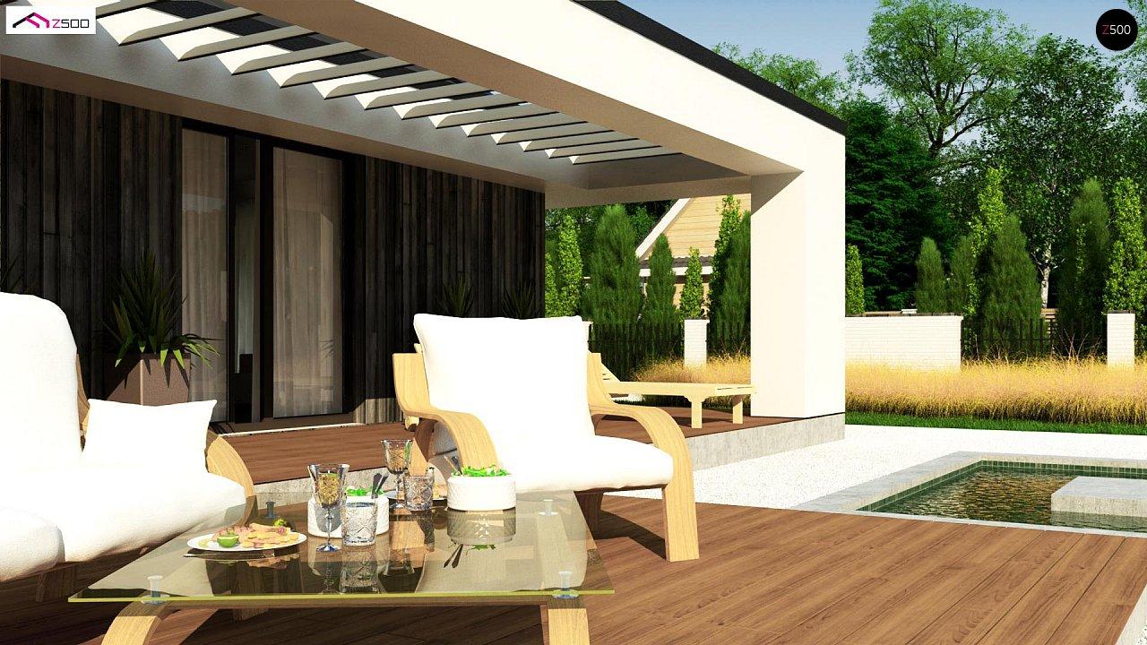 Компактный одноэтажный дом с двускатной крышей и 3 спальнями 5