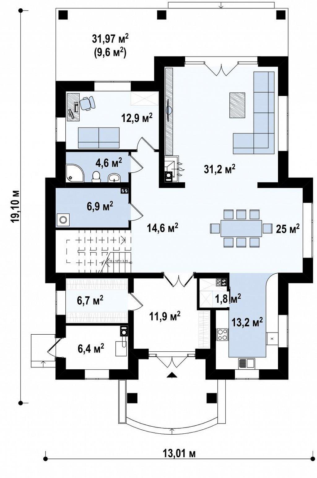 Элегантный двухэтажный классический дом с балконом план помещений 1