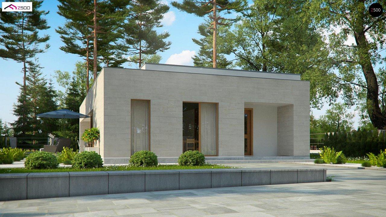 Одноэтажный дом в современном стиле, с большими застекленными окнами 3