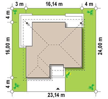 Практичный одноэтажный дом с гаражом для двух автомобилей и большим хозяйственным помещением. план помещений 1