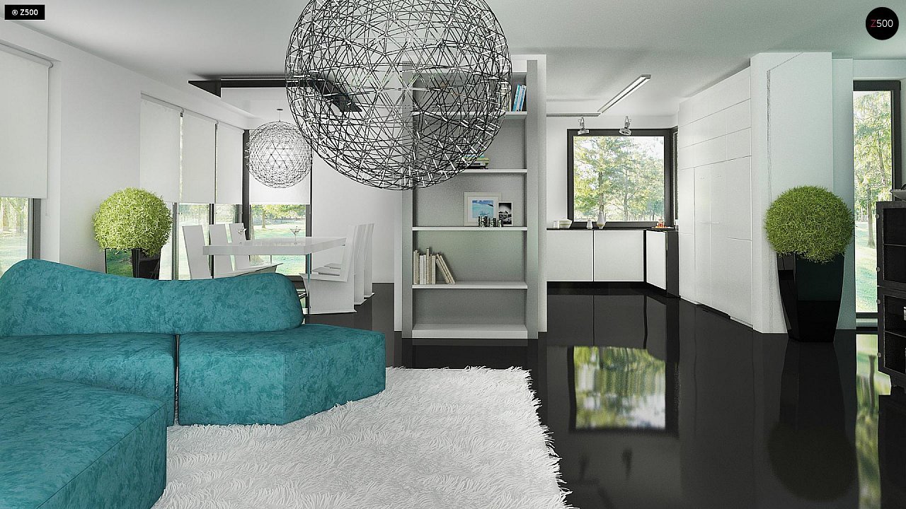 Современный двухэтажный дом с гаражом и террасой, спальней на первом этаже и ванной комнатой 14