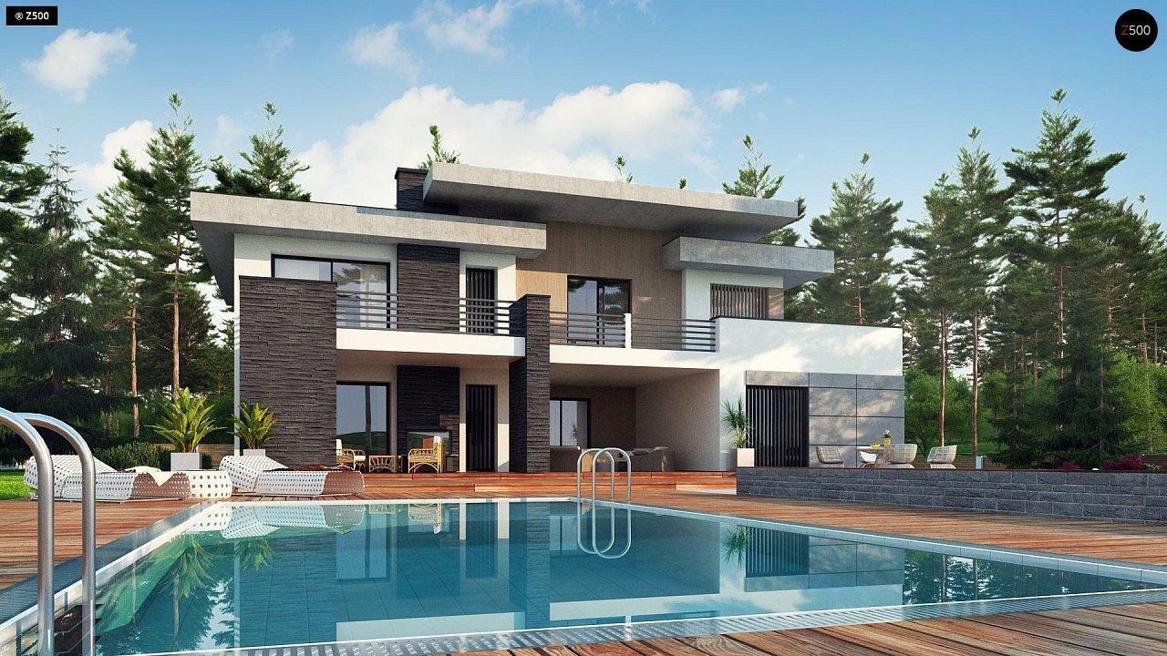 Красивый и комфортный дом с плоской кровлей, гаражом на две машины и просторными террасами. - фото 1