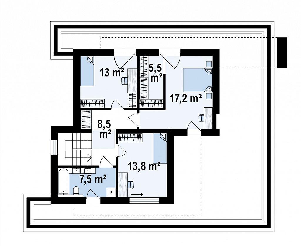 Современный двухэтажный дом с плоской крышей и гаражом на 2 машины. план помещений 2