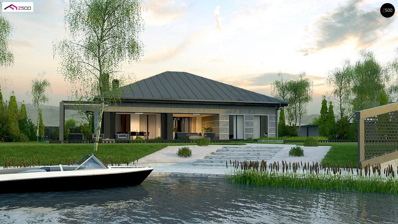 Проект дома с одноуровневой оригинальной планировкой и современным экстерьером. 2