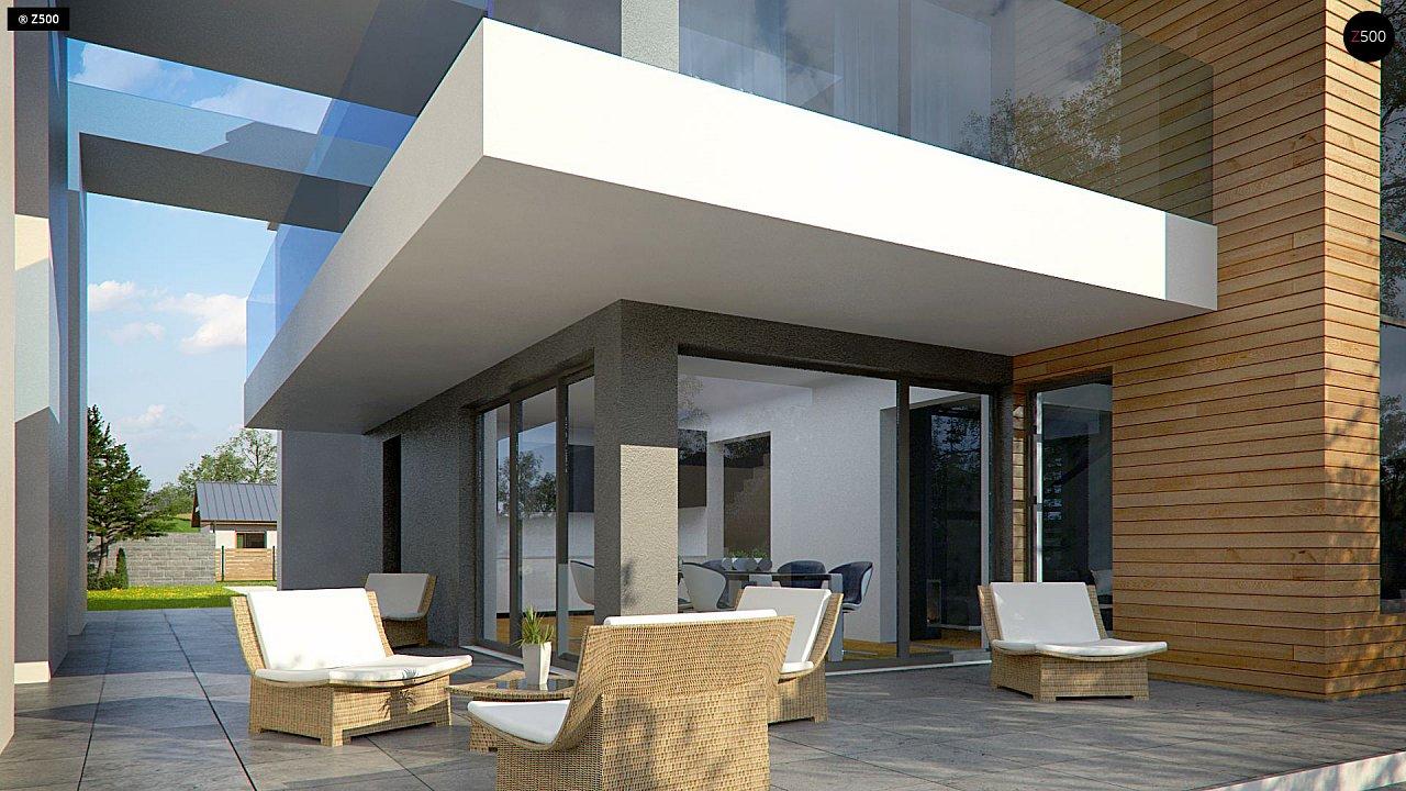 Современный двухэтажный дом с большим остеклением и гаражом на две машины 5