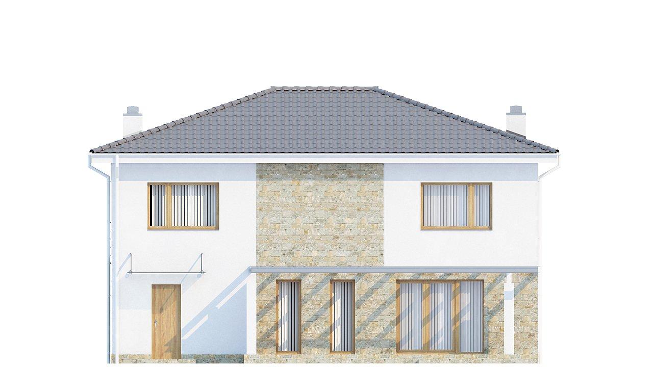 Двухэтажный дом с гаражом для одной машины, с интересным оформлением входной зоны. 5