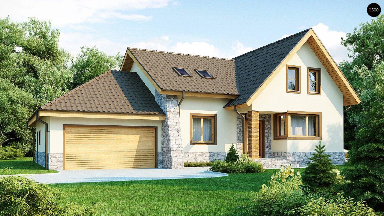 Проект традиционного дома с гаражом для двух машин и боковой террасой. 1