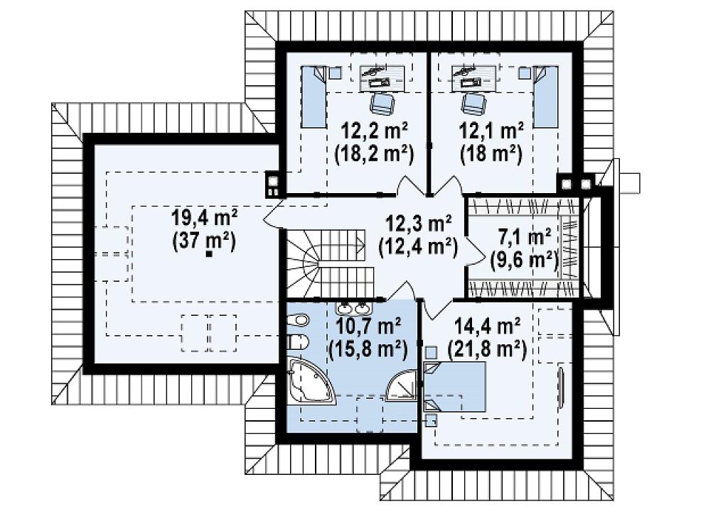 Просторный функциональный дом сложной формы. план помещений 2