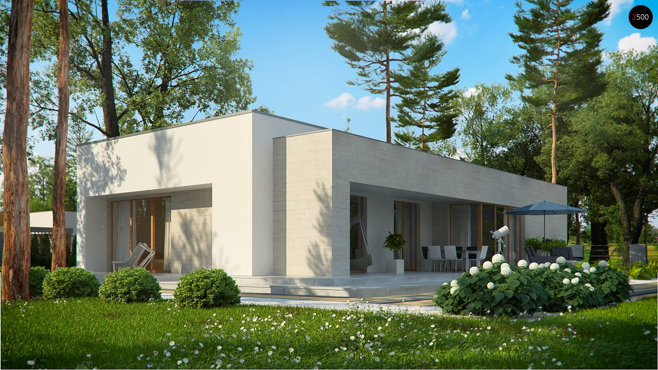 Одноэтажный дом в современном стиле, с большими застекленными окнами 10