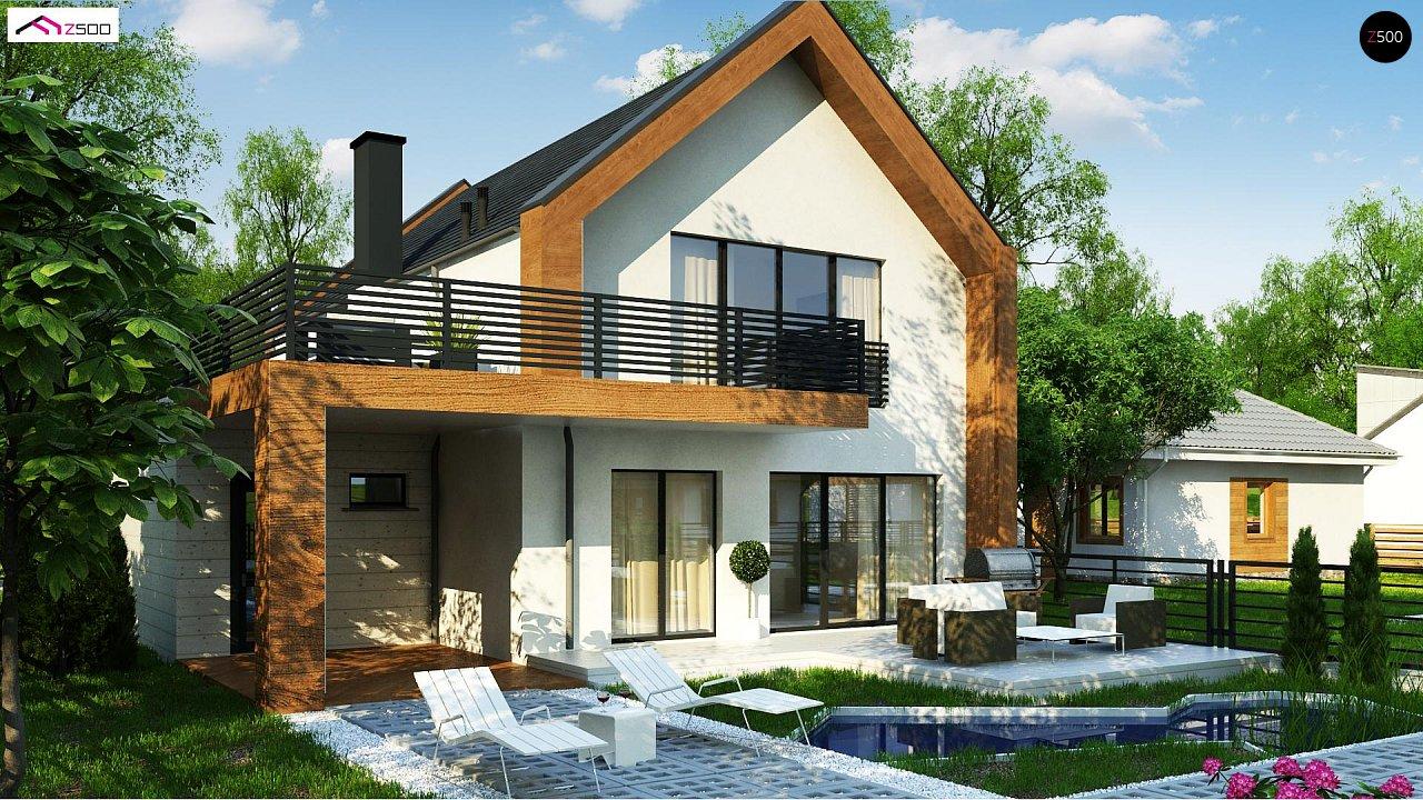 Современный дом с двускатной крышей и гаражом для одного пользователя 4